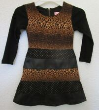 BOUTIQUE LIPSTIK Girls 3T LEOPARD CHEETAH Leather Gold Bling DRESS