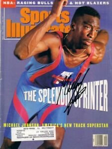 Michael Johnson signed autographed autograph 1991 Sports Illustrated IN PERSON