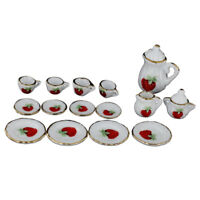 1/12 Dollhouse Miniature Dining Ware Porcelain Tea Set 15pc Strawberry Patt E2A6