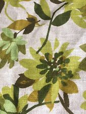 "Vtg WAVERLY World of Linen Woven Green Retro Floral Fabric 54"" x 34"""
