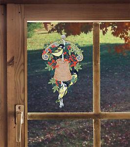 Herbstdeko Meisenglocke Fensterbild aus Plauener Spitze für den Herbst