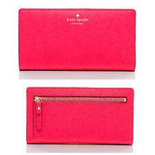 Kate Spade Cedar Street Stacy Slim Bifold Leather Snap Slim Wallet Pink Red