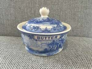 Vintage Somerton Green  Butter Dish  Stunning  Blue & White  Perfect Condition