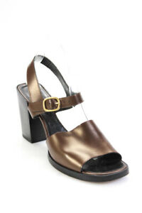Robert Clergerie Womens Leather High Heel Ankle Strap Slingbacks Brown Size 8B