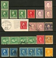 #391 - #497 1910-1922 Washington-Franklin Coil Stamp Selection Mint, MNH & Used