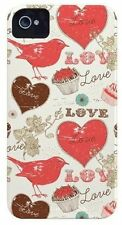 CASE Mate iPhone 4 S 4 Barely There Custodia Cover Bird/l' amore/Cupcake Design Rosso/Crema