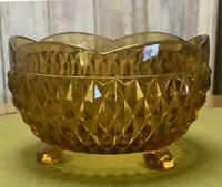 """Amber Yellow Depression Glass Footed Bowl 5"""" Indiana Diamond Point Candy Dish"""