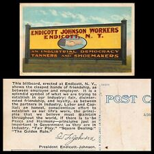 VTG POSTCARD ENDICOTT JOHNSON WORKERS TANNERS SHOE MAKERS UNION BILLBOARD NY