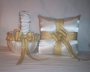 IVORY CREAM SATIN / GOLD METALLIC FLOWER GIRL BASKET & RING BEARER PILLOW #1
