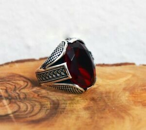 Men's Handmade Turkish Art Deco 14.96CT Red Oval Ruby 925 Silver Fashion Ring