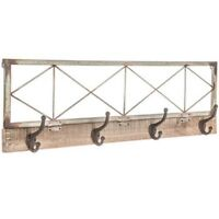 "Rustic Metal Wall Decor with Hooks  Rustic Home Decor Farmhouse 35"" L X 10.5"" H"