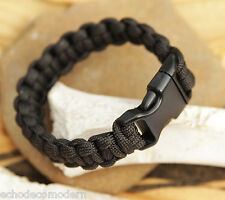 Paracord Bracelet Black 550 Military EDC Camping Tactical US Made All Sizes