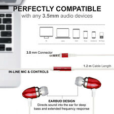 red In-Ear Bud Headphones With Handsfree Mic Remote For apple iphone 4/5/5s/6