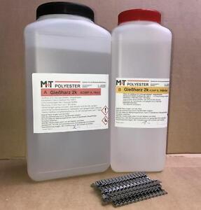 3 kg Epoxidharz-2K Gießharz Rissharz Estrich Risse mit 40 Estrichklammern