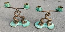 Vintage Antique Bronze Pair of 2 Candlestick Candle Holder China Dragon Snake