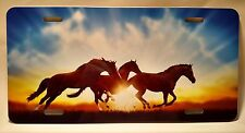 BEAUTIFUL HORSES RUNNING AT SUNSET FULL SIZE ALUMINUM VANITY LICENSE PLATE