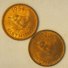 1954 and 1956 Great Britain farthing UNC