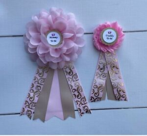 Pink Gold  Baby Shower Corsage Girl ,Mommy To Be /Daddy To Be Corsage Pin