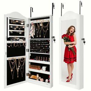 Ezigoo Wall/Door Mount Jewellery Cabinet with Over Door Mirror&Internal Storage