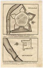 VOC Antique Print-CASTLE-FORTRESS-SEMARANG-DEMAK-INDONESIA-Valentijn-1726