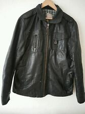 River Island mens black real leather jacket XL, fully lined.