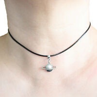 Saturn Charm Pendant Choker Necklace with Black Cord