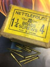 NETTLEFOLDS 11/4 X 4s GAUGE BRASS COUNTERSUNK WOODSCREWS QTY (144) RARE