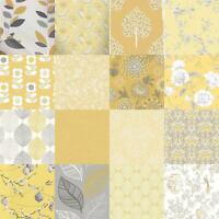 Yellow Floral Wallpaper Grey Mustard Leaf Birds Animal Print Flowers Glitter