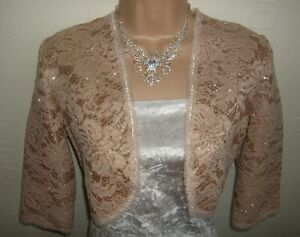NUDE BEIGE SHIMMER SPARKLE GLITTER SATIN AND LACE SHRUG / BOLERO - NEW