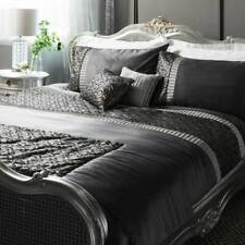 NEW SILVER GREY DOUBLE BED SEQUIN QUILT COVER DUVET SET + MATCHING BED RUNNER
