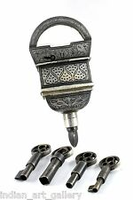 ANTIQUE COLLECTIBLE HAND INLAY SILVER WORK IRON TRICKY FOUR KEYS PADLOCK.i42-5