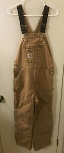 CARHARTT R41 BRN Quilted Insulated Work Bib Overalls Men's Size 32x28  VGC !