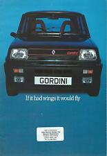 Renault 5 Gordini UK Market Brochure Circa 1979-1980 Excellent Condition