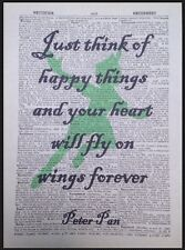 Peter Pan Citation Vintage Dictionary Art Mural Imprimé Image Joyeux Things