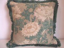 Cushion Cover Vintage Morris Sanderson Linen Fabric Chrysanthemum Green Ruche