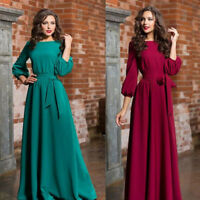 Women Round Neck Maxi Long Dress Long Sleeve Lace-up Prom Gown Evening Party