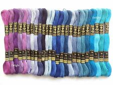 25 Anchor Cross Stitch Embroidery Cotton Thread Floss/ skeins in Blue Colors