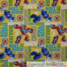 BonEful FABRIC Cotton Quilt Yellow Red Blue Transformers Toy Boy Rescue US SCRAP