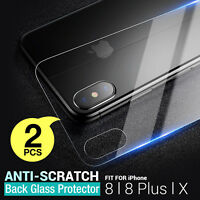 2 X Back Rear Tempered Glass Protector Guard Film For Apple iPhone X 8 Plus