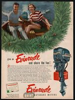 1953 EVINRUDE Outboard Motor Boating Christmas AD