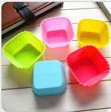 10pcs 7cm Square shape Silicone Muffin Cases Cake Cupcake Liner Baking Mold
