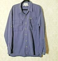 Columbia Men's Button Front Shirt Size Large Blue Long Sleeves Pockets