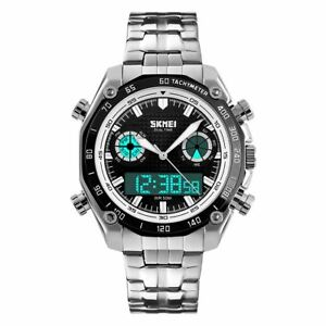 SKMEI Mens Dual Time Digital Analogue Watch With Stainless Steel Strap AD1204