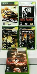 Lot of 5 XBox games, Stacked, Max Payne, Battlefield 2, Splinter Cell, Warrior