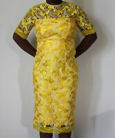 NEW  YELLOW FLORAL LADIES FORMAL LACE DRESS GOOD FOR WEDDINGS OUTINGS AND CHURCH