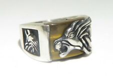 925 SILVER & TIGERS EYE LION RING. HEAVY! HIGH-QUALITY!! BARGAIN!!!!!!!!!!!!!!!!