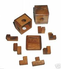 """Miniature """"Baby"""" Soma Cube Puzzle brain teaser w/ cover"""