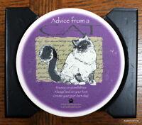 New absorbent Cat Coaster Set Barware Home Decor wood caddy