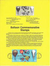 20c BALLOONING 1983 SOUVENIR PAGE SCOTT # 2032-2035 SP607 AVIATION FDC