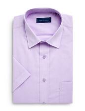 "Peter England Mens Short Sleeve Cotton Rich Plain Lavender Shirt 14h"" - 18"""